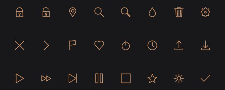 Icon Pack — стилизованный для строки шриф сиконками от Petras Nargela, форрматы psd, AI, svg, WebFont