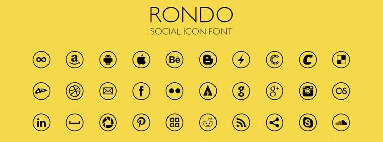 Rondo — шрифт с социальными иконками, 40 иконок