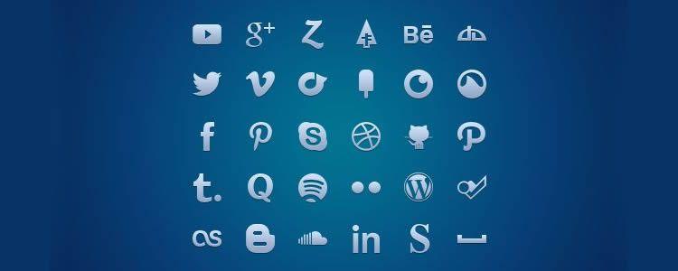 Social Media Set Glyph, 30 иконок