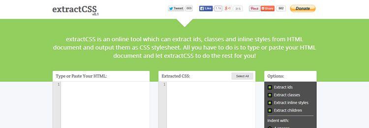 Инструмент для извлечения id, классов и inline стилей из HTML и вывод в формате CSS
