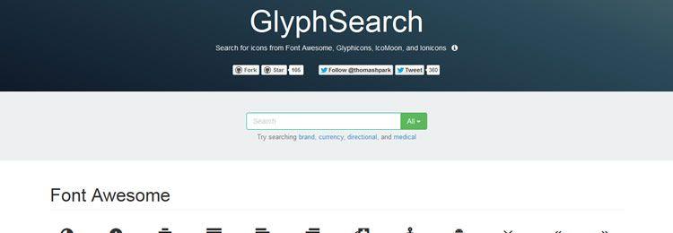 Приложение для поиска иконок из Font Awesome, Glyphicons, IcoMoon & Ionicons