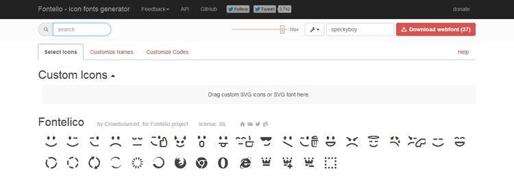 Генератор шрифтов иконок из Font Awesome, Entypo, Typicons и многих других наборов