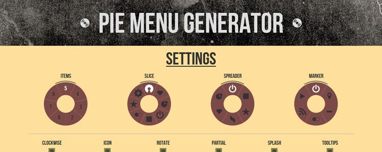 Генератор меню в форме телефонного диска (Pie Menu Generator)