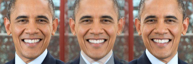 Рисунок 10— Симметричный президент Обама (в центре) полученный усреднением его фотографии (слева) с его же зеркальным отражением (справа)