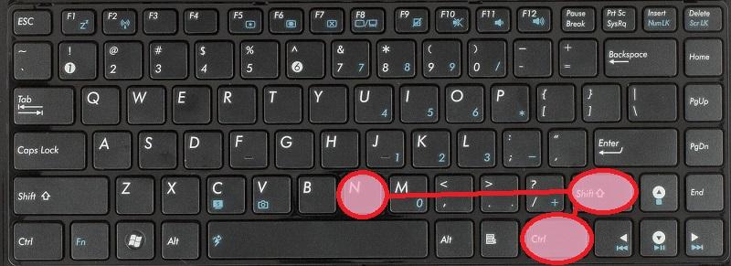 Ctrl+Shift+N - в зависимости от контекст создаём что-то новое папку, файл, вкладку браузера