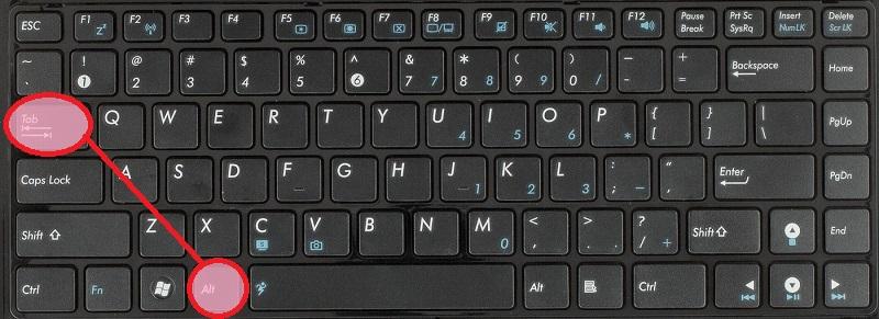 Alt+Tab - перемещаемся последовательно между открытыми окнами