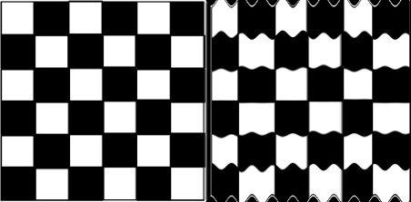 Рисунок 3: Входное и соответствующее выходное изображение, показывающее эффект смешного зеркала на основе функции синуса